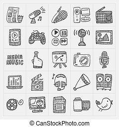 medios, garabato, conjunto, iconos