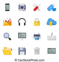 medios, iconos de tecnología