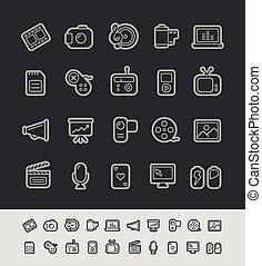 medios, iconos, //, negro, línea, serie