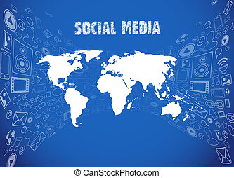 medios, ilustración, social