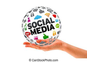 medios, mano, esfera, tenencia, social, 3d