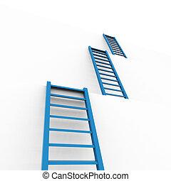 medios, obstáculos, escaleras, planificación, aspirar, venza