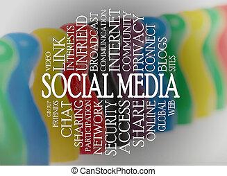 medios, palabra, nube, social