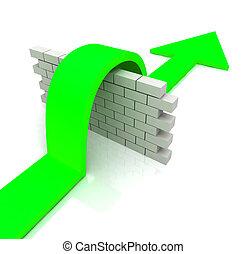 medios, pared, encima, obstáculos, verde, flecha, venza