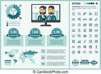 medios, plano, diseño, infographic, plantilla