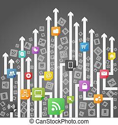 medios, resumen, moderno, esquema, social