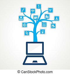 medios, social, árbol, icono