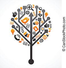 medios, social, árbol, red, iconos