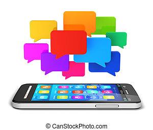 medios, social, concepto, comunicación, móvil
