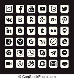 medios, social, logotipos, conjunto, popular