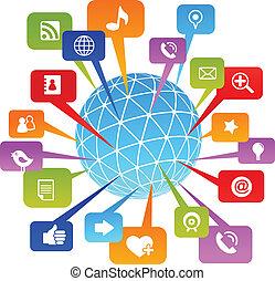 medios, social, red, mundo, iconos