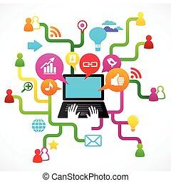 medios, social, red, plano de fondo, iconos