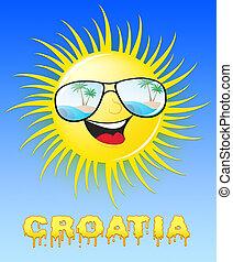 medios, sol, soleado, ilustración, croacia, sonriente, 3d