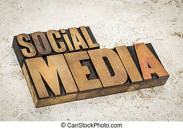 medios, tipo, madera, texto, social