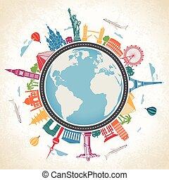 medios, transpor, globo, rodeado, famoso, tierra, señales