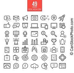 medios, vector, línea, símbolos, set., social, smm, ...
