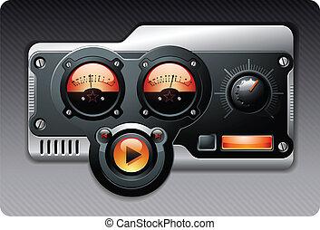 medios, vector, música, mp3, dispositivo, radio
