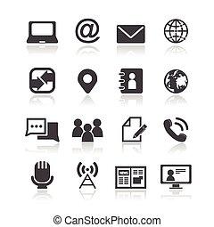 medios, y, comunicación, iconos