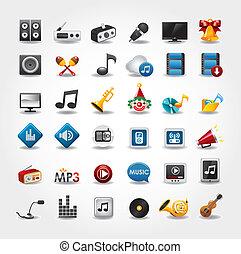 medios, y, música, iconos, colección