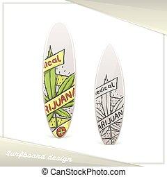 medisch, acht, marihuana, surfboard