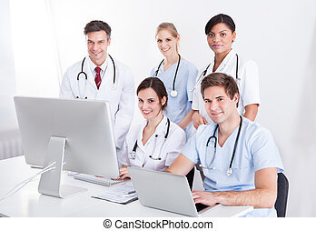 medisch, artsen, groep, op, ziekenhuis