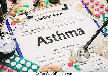 medisch, astma, diagnose, vorm