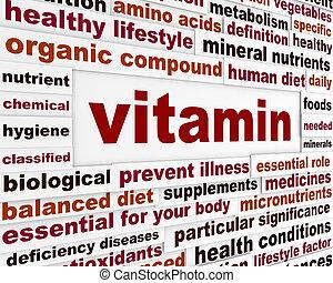 medisch, boodschap, woorden, vitamine