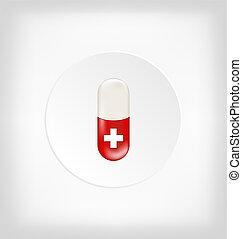 medisch, capsule, kruis, rode pil