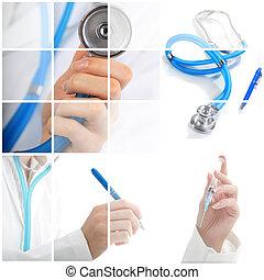 medisch, collage., concept.