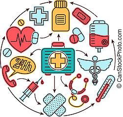 medisch concept, iconen