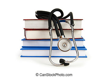 medisch concept, stethoscope, boek, opleiding