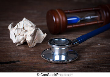 medisch concept, stethoscope, hourglass