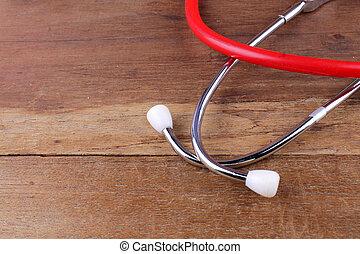 medisch concept, stethoscope, uitrusting, op, houtenvloer
