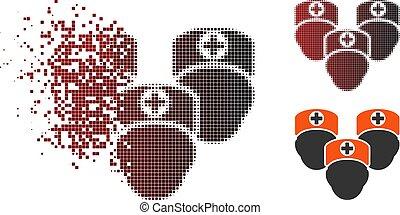 medisch, decomposed, halftone, pictogram, pixel, personeel