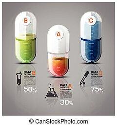medisch diagram, capsule, infographic, gezondheidszorg, pil
