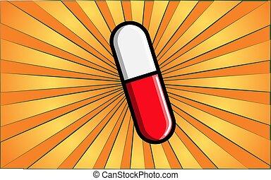medisch, gele, het helen, pharmacological, vector, witte , ovaal, illustratie, abstract, care, rays., capsule, capsule, rode achtergrond, gezondheid, geneeskunde