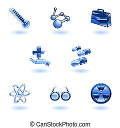 medisch, glanzend, iconen