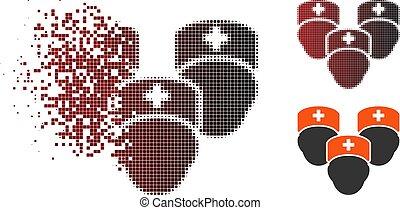 medisch, halftone, opgeloste, personeel, pixel, pictogram