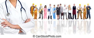 medisch, handen, woman., arts