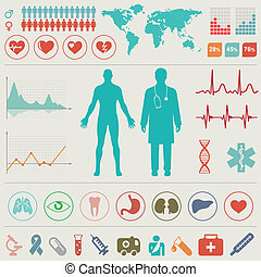 medisch, infographic, set