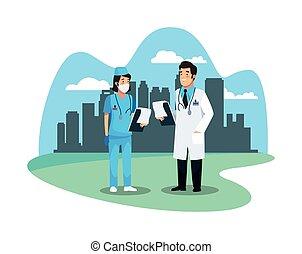 medisch, karakters, personeel, arts, verpleegkundige