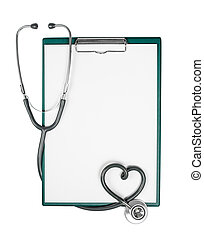 medisch, klembord, met, stethoscope, in vorm, van, hart