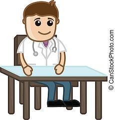 medisch, -, kliniek, spotprent, arts