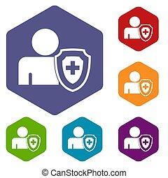 medisch, kruis, bescherming, schild, iconen, set