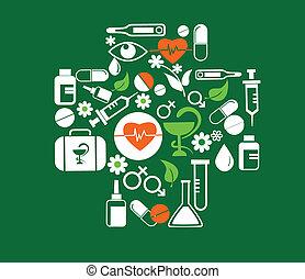medisch, kruis, met, gezondheid, pictogram, set