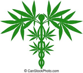 medisch, marihuana plant, caduceus