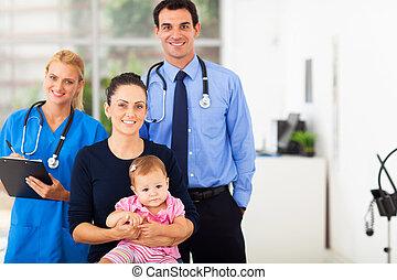 medisch, meisje, vakmensen, baby, moeder