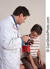 medisch, onderzoek, -, bloeddruk