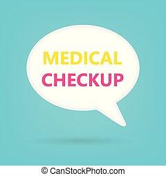 medisch, onderzoek, geschreven, op, tekstballonetje