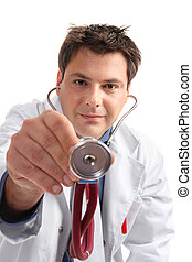 medisch onderzoek, onderzoek, -, arts met stethoscope